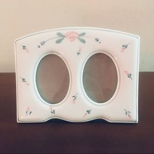 White with Flowers Double Picture Frame